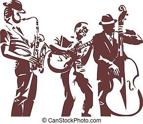 Jazz musicians - Jazz players monochrome silhouettes