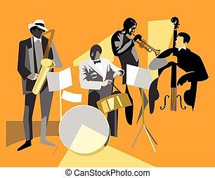 Jazz musicians - Jazz quartet, musicians silhouettes on an...