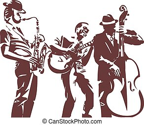 Jazz players monochrome silhouettes