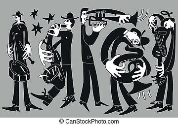 jazz musicians - vector drawing illustration cartoon