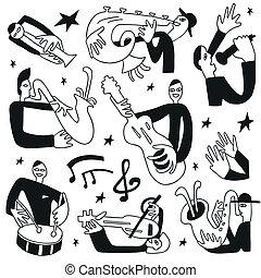 jazz musiker, -, doodles, satz