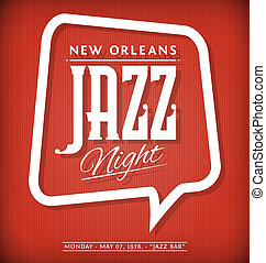 Jazz Night Poster - Vector Template of Poster for Jazz Night...