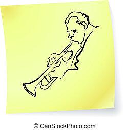&, jazz, note, vivant, poteau-il, bleus