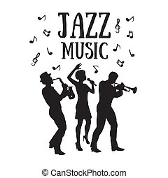 Jazz  Orchestra. Silhouettes  of trumpet player, saxophonist and african woman singer. 50's or 60's style musicians