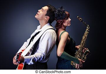 jazz pair - Couple of professional musicians in retro style ...
