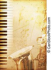 jazz, papel, antigas
