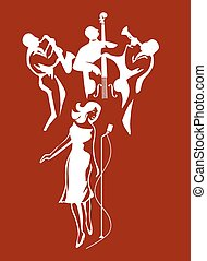 Jazz performance - Jazz group and female singer on a...