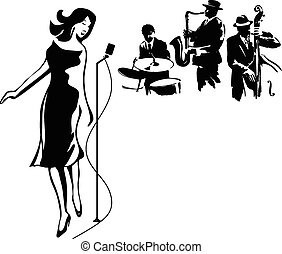 Jazz group with a female singer, isolated