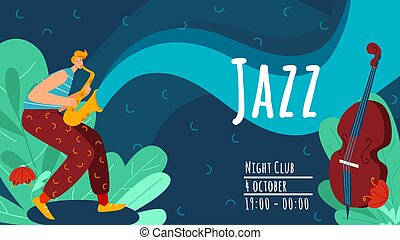 Jazz performance of musician, character male playing on trumpet, viola flat vector illustration. Advertisement flyer, night club music concert.