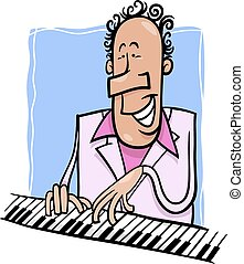 jazz pianist cartoon illustration - Cartoon Illustration of...