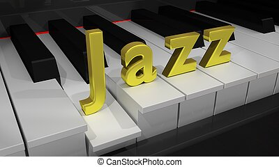 Jazz piano keyboard with gold letters