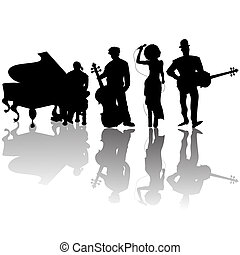 Jazz players silhouettes against white background