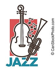 Jazz promo poster with classic musical instruments and notes