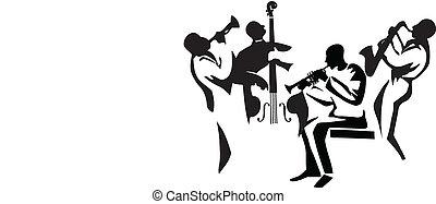 Jazz Quartet - Graphic silhouettes of four jazz musicians,...
