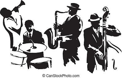 Jazz quartet - Musicians black silhouettes, editable vector...