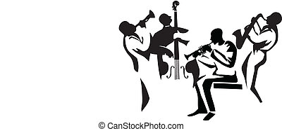 Graphic silhouettes of four jazz musicians, vector illustration