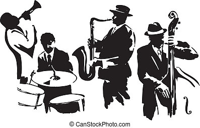 Jazz quartet - Musicians black silhouettes, editable vector...