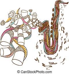 Jazz Saxophone doodle art