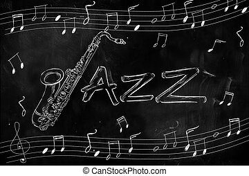Jazz Saxophone Drawing on