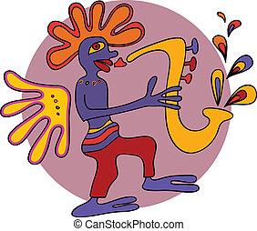 Jazz saxophone player design in traditional aboriginal style, vector illustration