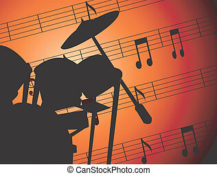 Jazz	 - Illustration of jazz drums with music notes