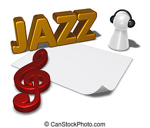 jazz tag and pawn with headphones - 3d illustration