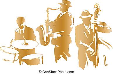 Jazz trio sketch, vector illustration
