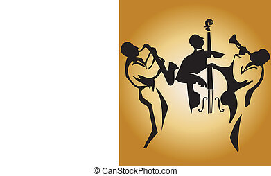 Jazz Trio - Graphic silhouettes of jazz musicians, editable...