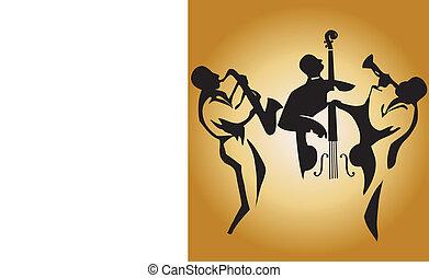 Jazz Trio - Graphic silhouettes of jazz musicians, editable ...