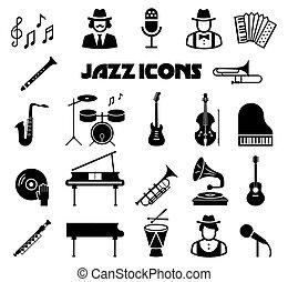 Jazz vector icon set