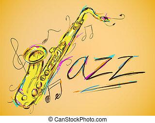 jazz, wektor, sztuka