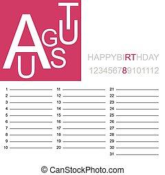 jazzy birthday calendar august