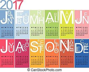 jazzy, calendário, 2017