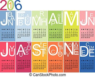 Colorful jazzy 2016 calendar, vector, eps 10