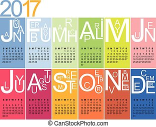 jazzy calendar 2017 - colorful jazzy 2017 calendar, week ...
