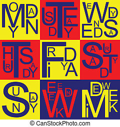Jazzy days of the week in bleu, yellow and red, vector