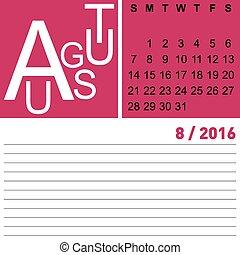 calendar august 2016
