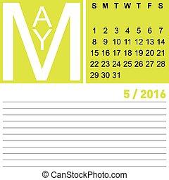 calendar may 2016
