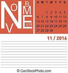 calendar november 2016