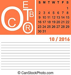 calendar october 2016 - jazzy monthly calendar october 2016,...