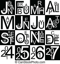 Jazzy months and years in black and white, vector