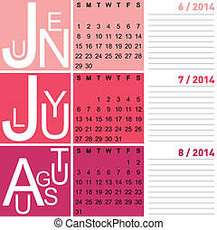 jazzy seasonal calendar summer 2014 including june, july and...