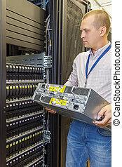 jbod, il, installs, étagère, ingénieur, datacenter