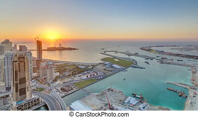 JBR and Bluewaters island at sunset aerial timelapse
