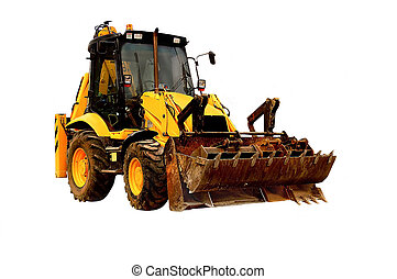 An image of a well used JCB isolated.