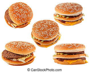 jeûne, nourriture., groupe, hamburger, isolé, blanc