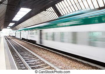 jeûne, passager, train banlieusard, à, ternissure mouvement
