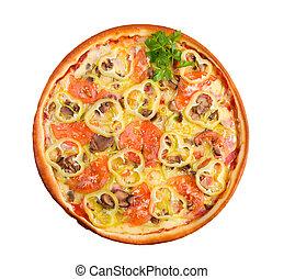 jeûne, pizza., formulaire, naturel, nourriture, foods.