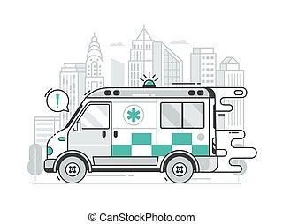 jeûne, service, ambulance, scène, ville, urgence, voiture