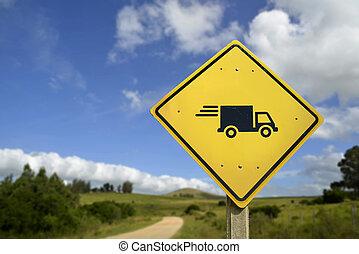 jeûne, signe, camion, expédition, partout, route, icône